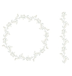 Detailed contour wreath withlilies of the valley vector