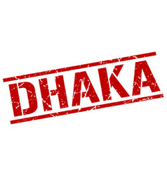 Dhaka red square stamp vector