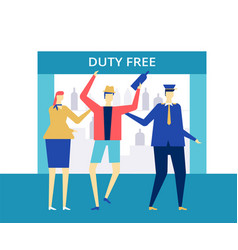 Duty free at airport - flat design style vector