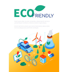 Eco friendly - modern colorful isometric web vector