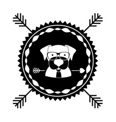 emblem dog hipster hunter city icon vector image