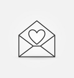 envelope with heart outline icon love vector image