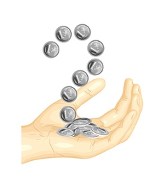 euro coins in the hand vector image