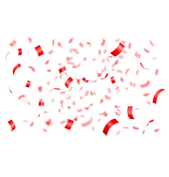 Falling shiny red confetti vector