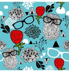 Female pattern with owls in glasses and beautiful vector image