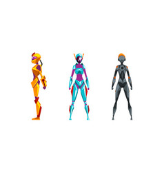 female robots set cyborg characters in various vector image