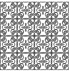 Filigree linear black and white pattern vector
