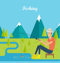Fishing and camping concept young fisherman vector