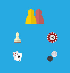 flat icon games set of pawn poker chequer and vector image