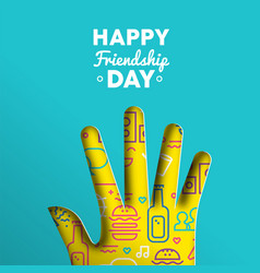 Friendship day card of paper cut hand shape vector