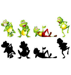 Frogs in four actions vector