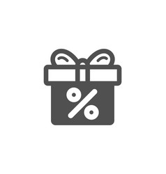 Gift box with percentage simple icon present vector