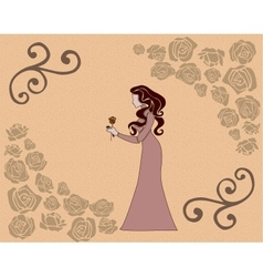 girl with a rose vector image