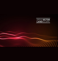 glowing abstract digital wave particles vector image