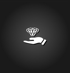 hand and diamond icon flat vector image