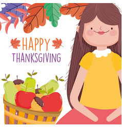 Happy thanksgiving celebration woman with basket vector
