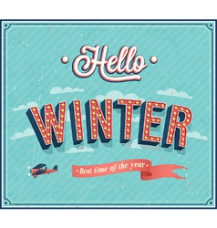 Hello winter typographic design vector image