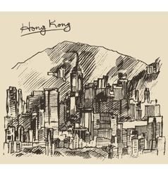 Hong Kong big city architecture hand drawn sketch vector