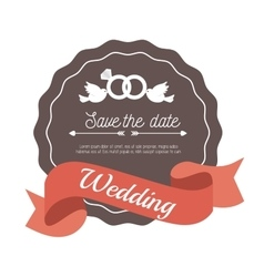 Invitation weddign card with rings and bird design vector