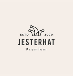 Jester hat hipster vintage logo icon vector