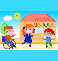 keep social distancing outside school vector image