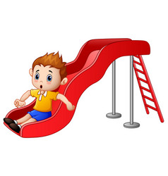 little boy cartoon playing on a slide vector image