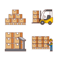 logistic concept worker boxes scale stools vector image