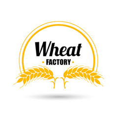 logo wheat factory on white background vector image
