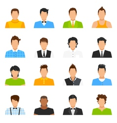 Man Avatar Icons Set vector image