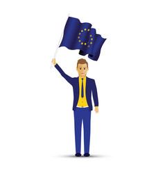 man holding a european flag vector image