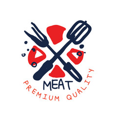 meat premium quality logo template vintage label vector image