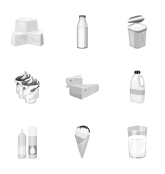 Milk product and sweet set icons in monochrome vector image