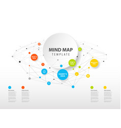 Mind map template with colorful circles and place vector