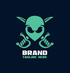 Modern alien pirate mascot logo vector
