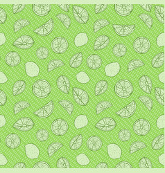 monochrome green hand drawn citrus fruit on drops vector image