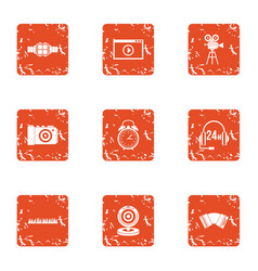 Movie call centre icons set grunge style vector