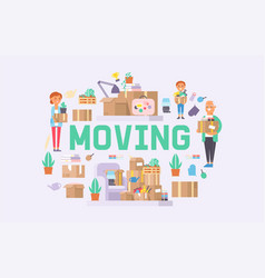moving family woman man kids character of vector image