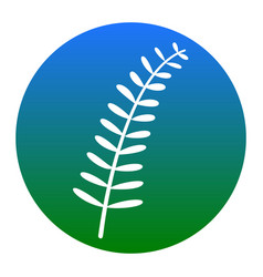 olive twig sign white icon in bluish vector image