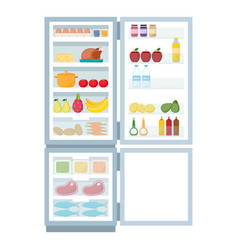 open refrigerator and freezer full food vector image