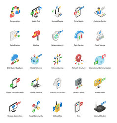Pack networking isometric icons vector