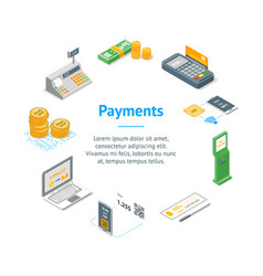 payment methods banner card circle isometric view vector image