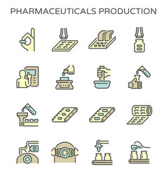 pharmaceutical production and manufacturing icon vector image