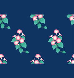 Pink morning glory seamless on indigo blue vector