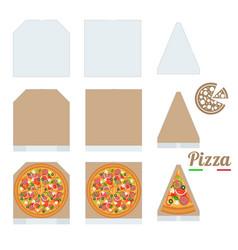 Pizza box cardboard box mockup slice slice of vector