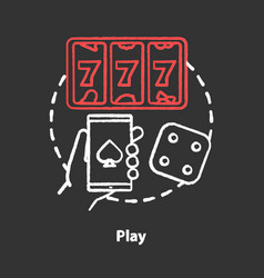 Play chalk concept icon slots machine one armed vector