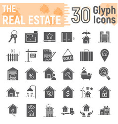 real estate glyph icon set home signs collection vector image