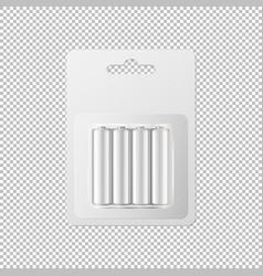 Realistic white alkaline aa batteries vector