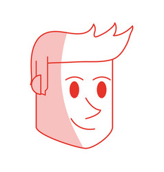 Red shading silhouette cartoon side view face guy vector