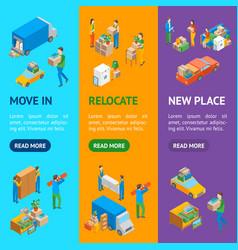 relocation service 3d banner vecrtical set vector image