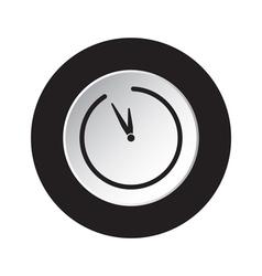 Round black white button - last minute clock icon vector